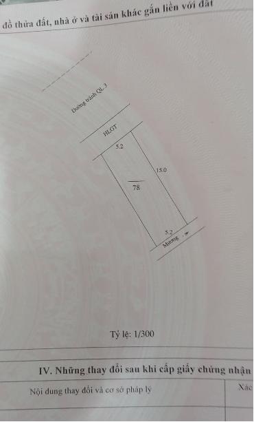 BÁN 166,5M2 ĐẤT MẶT ĐƯỜNG QL3 ĐI HÀ NỘI.